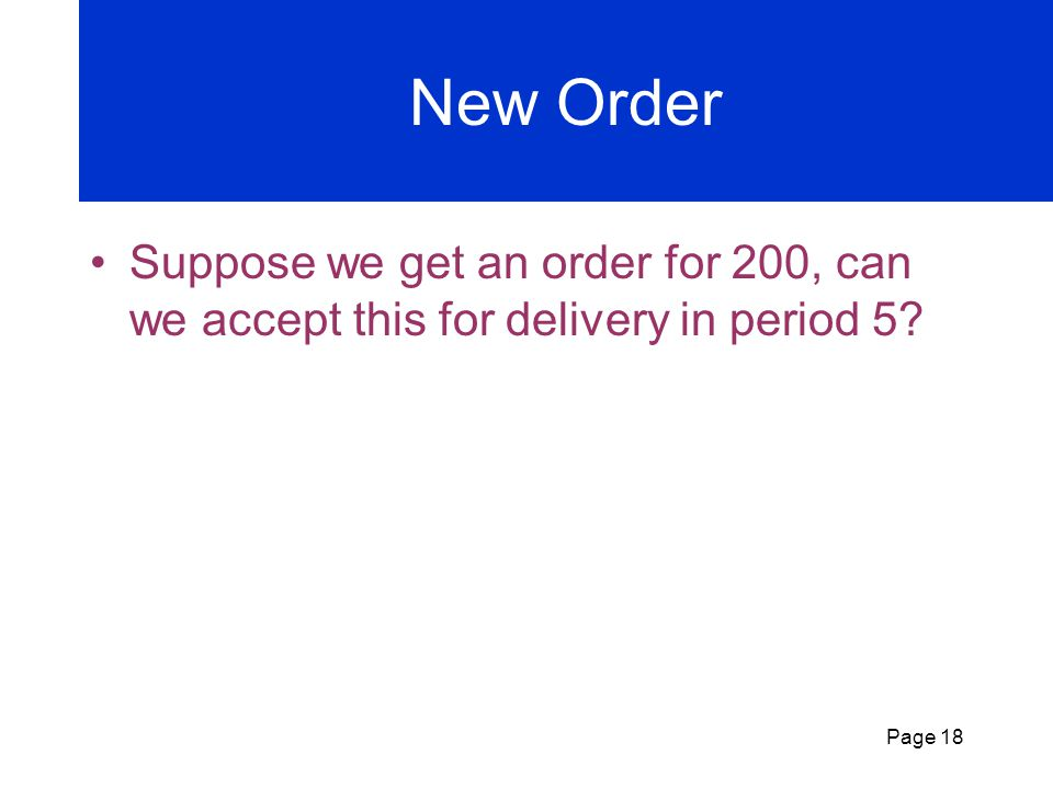 New Order Suppose we get an order for 200, can we accept this for delivery in period 5