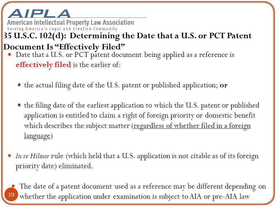 35 U. S. C. 102(d): Determining the Date that a U. S