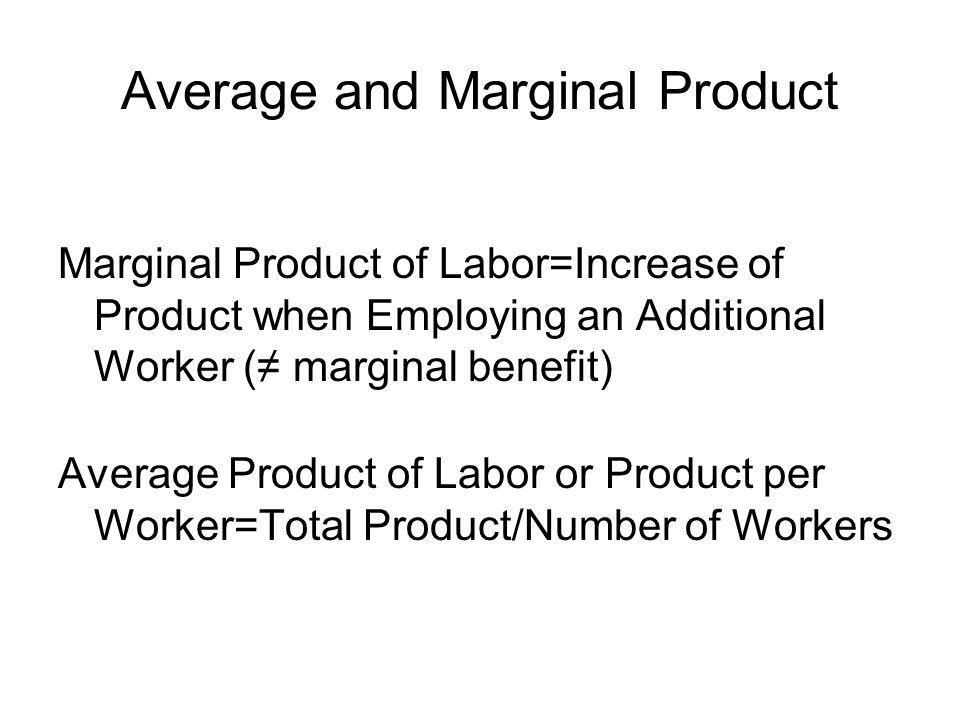 Average and Marginal Product
