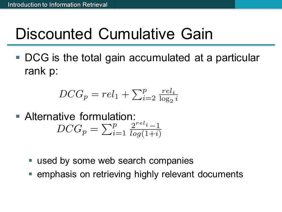 Discounted Cumulative Gain