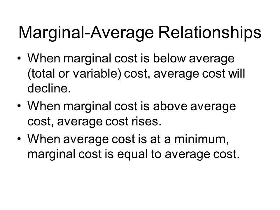 Marginal-Average Relationships