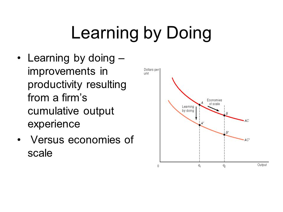 Learning by Doing Learning by doing – improvements in productivity resulting from a firm's cumulative output experience.