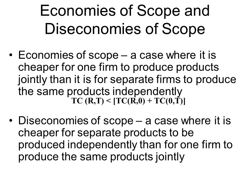 Economies of Scope and Diseconomies of Scope