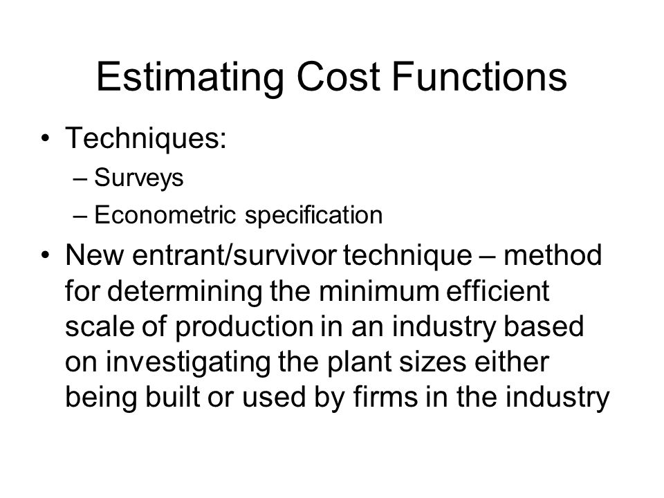 Estimating Cost Functions
