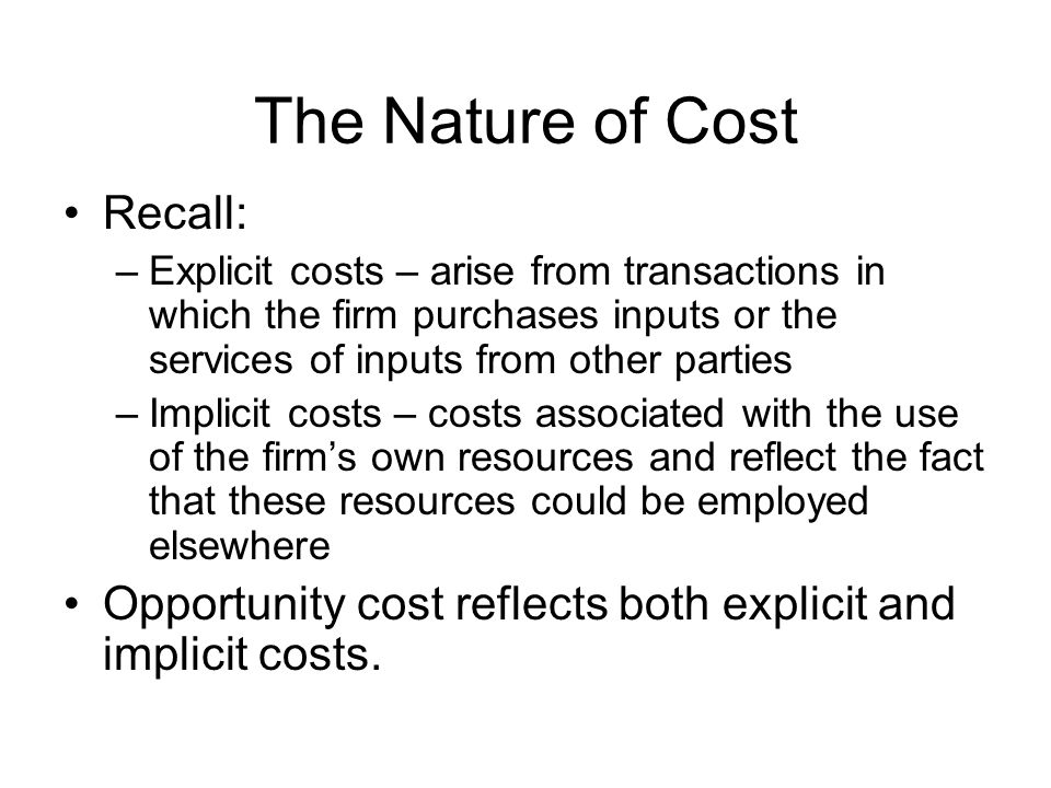 The Nature of Cost Recall: