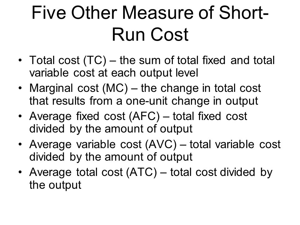 Five Other Measure of Short-Run Cost