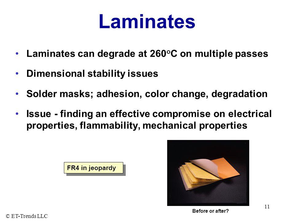 Laminates Laminates can degrade at 260oC on multiple passes