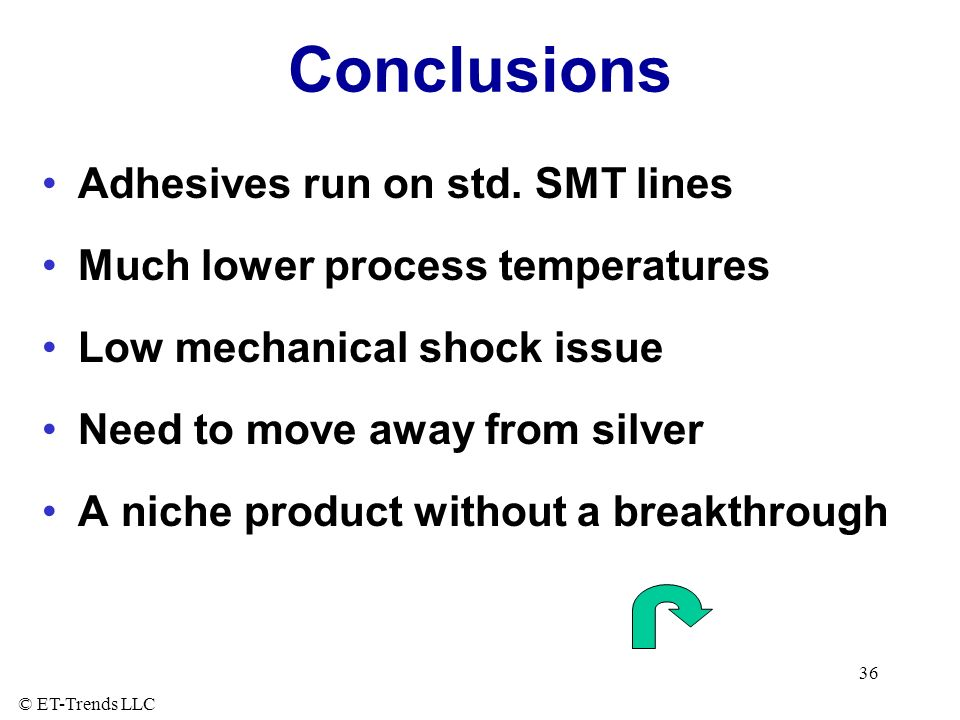 Conclusions Adhesives run on std. SMT lines