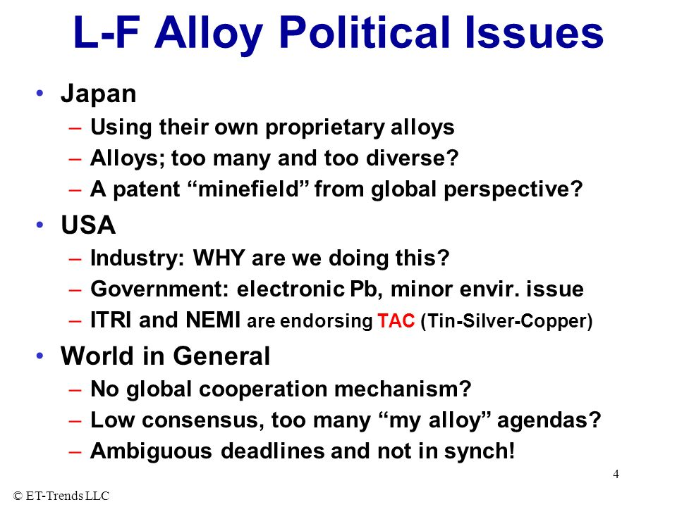 L-F Alloy Political Issues