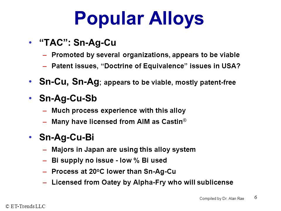 Popular Alloys TAC : Sn-Ag-Cu