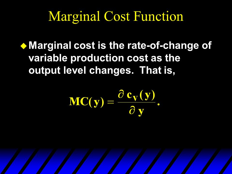 Marginal Cost Function