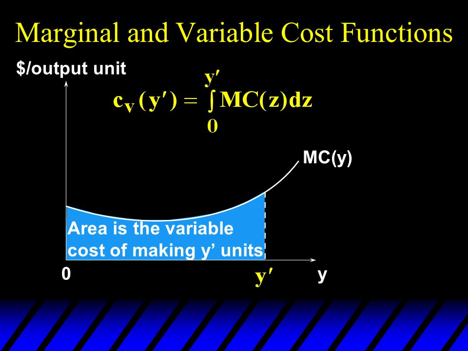 Marginal and Variable Cost Functions