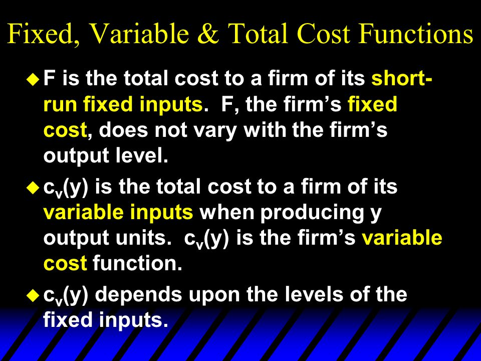 Fixed, Variable & Total Cost Functions