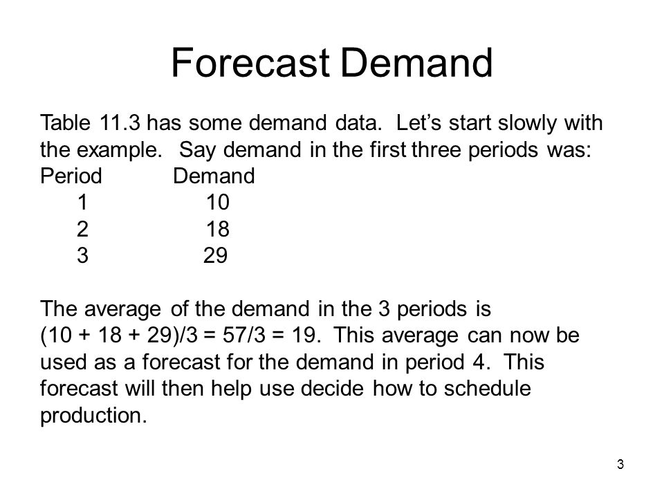 Forecast Demand Table 11.3 has some demand data. Let's start slowly with the example. Say demand in the first three periods was: