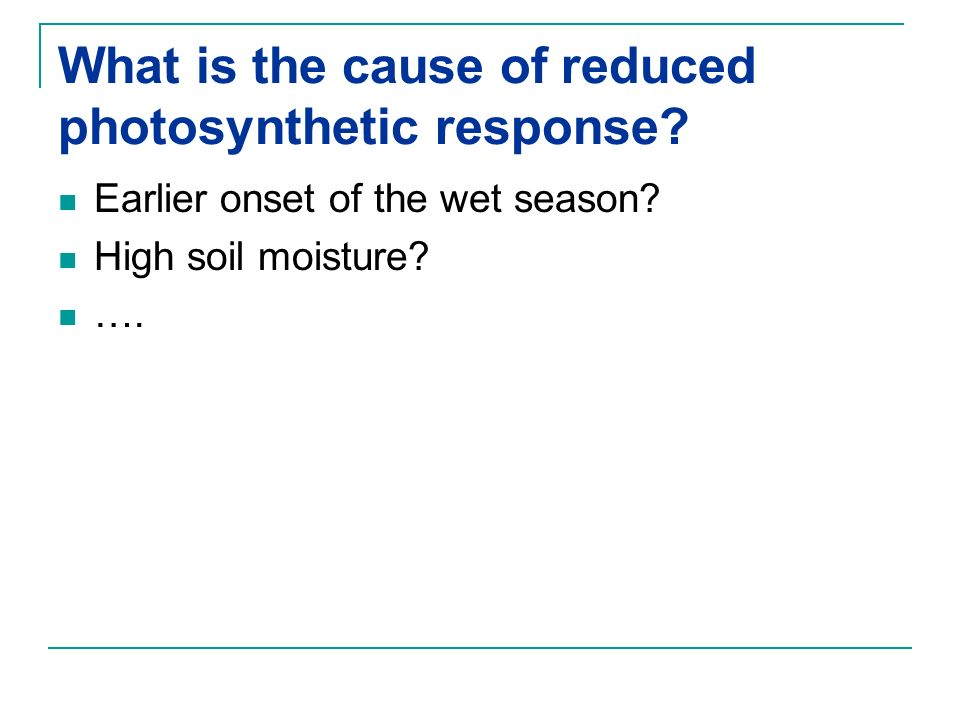 What is the cause of reduced photosynthetic response
