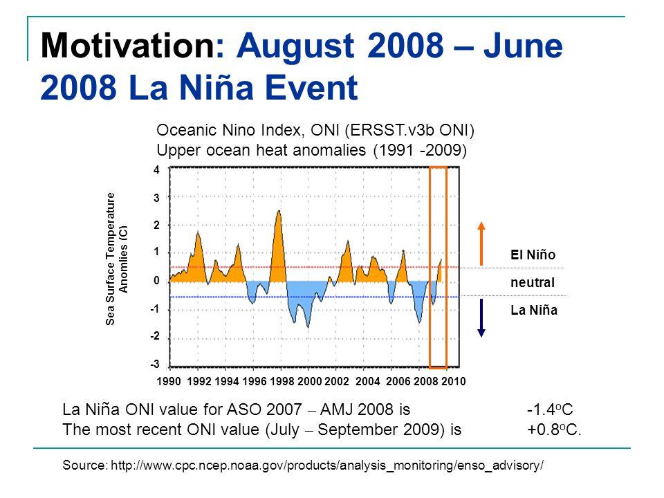 Motivation: August 2008 – June 2008 La Niña Event