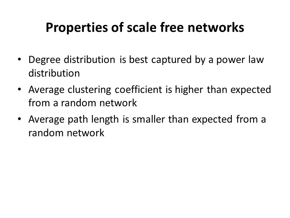 Properties of scale free networks
