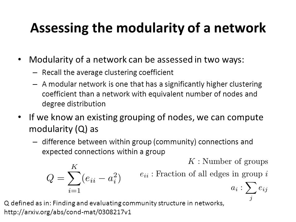 Assessing the modularity of a network