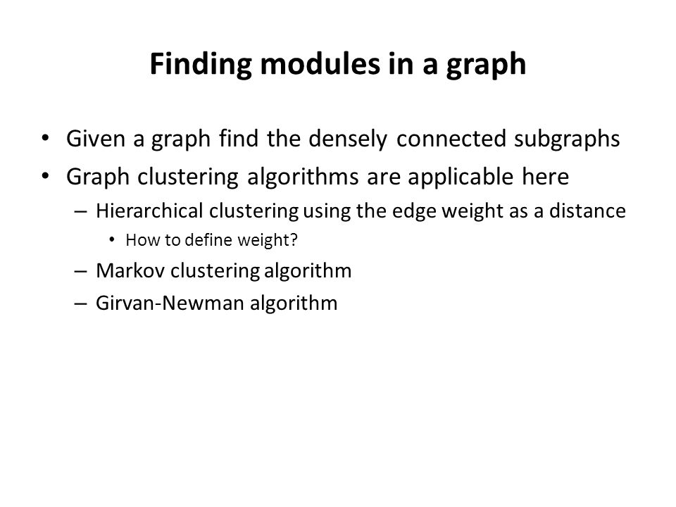Finding modules in a graph