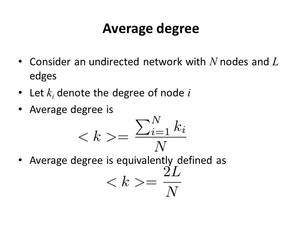 Average degree Consider an undirected network with N nodes and L edges