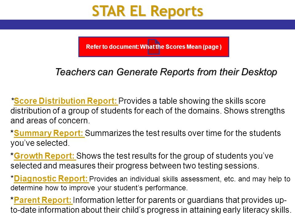 Refer to document: What the Scores Mean (page )