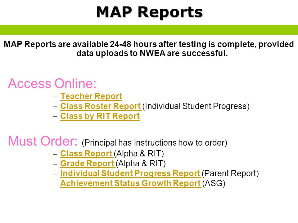 MAP Reports Access Online: