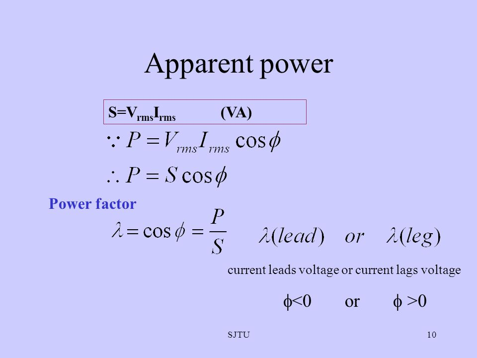 Apparent power <0 or  >0 S=VrmsIrms (VA) Power factor