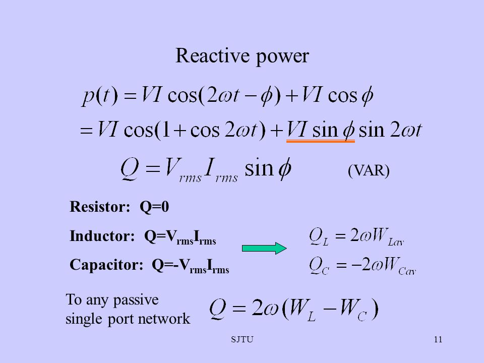 Reactive power (VAR) Resistor: Q=0 Inductor: Q=VrmsIrms