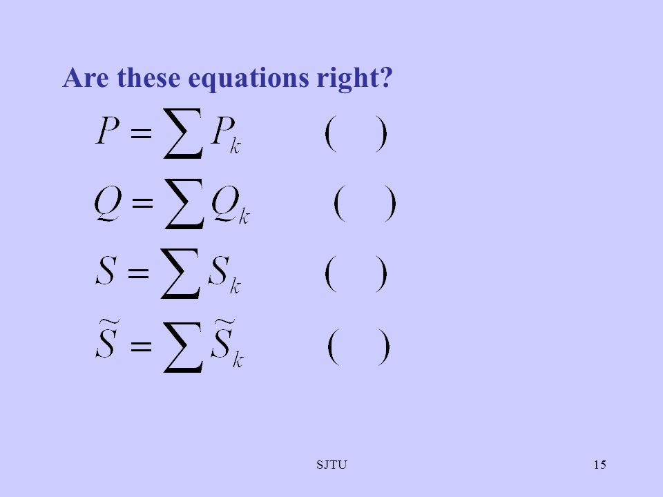 Are these equations right