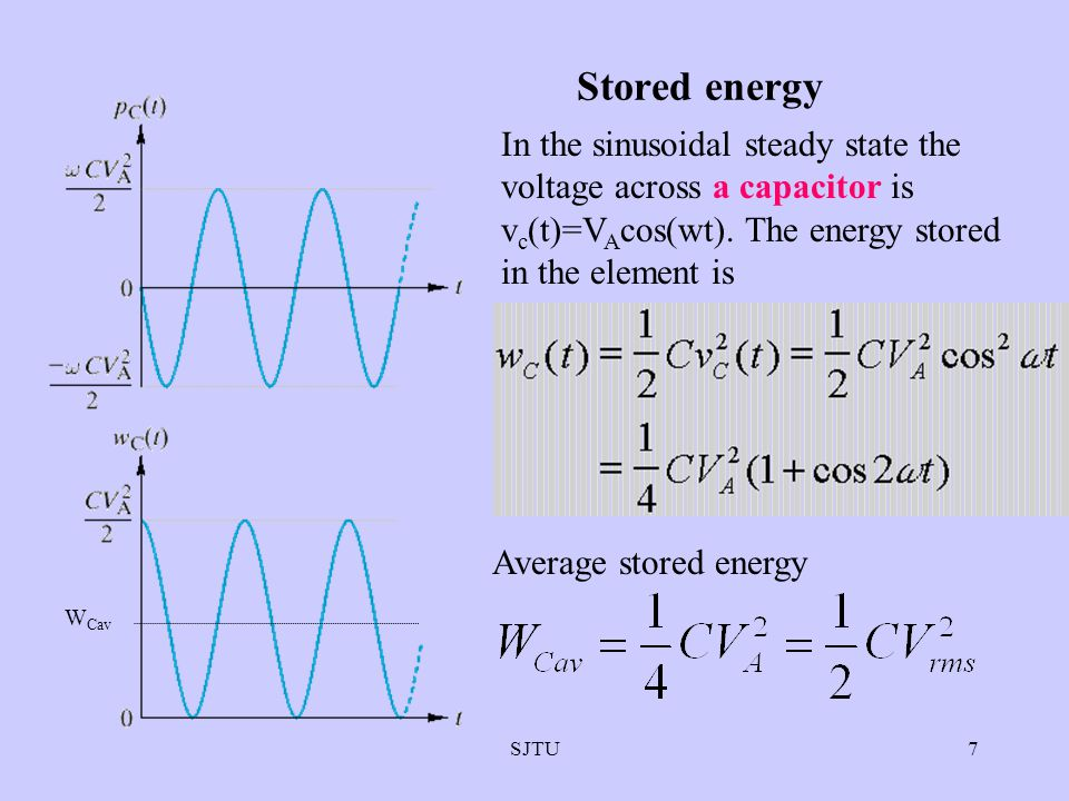 Stored energy In the sinusoidal steady state the voltage across a capacitor is vc(t)=VAcos(wt). The energy stored in the element is.
