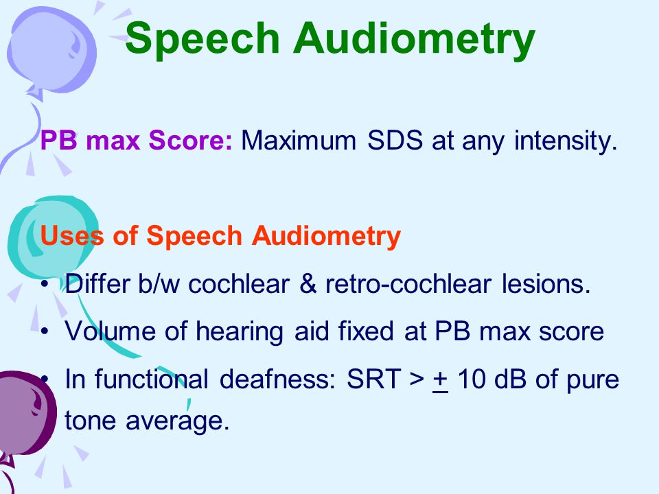 Speech Audiometry PB max Score: Maximum SDS at any intensity.