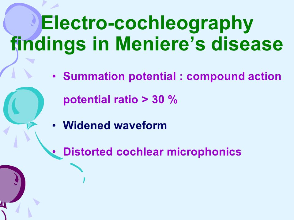 Electro-cochleography findings in Meniere's disease