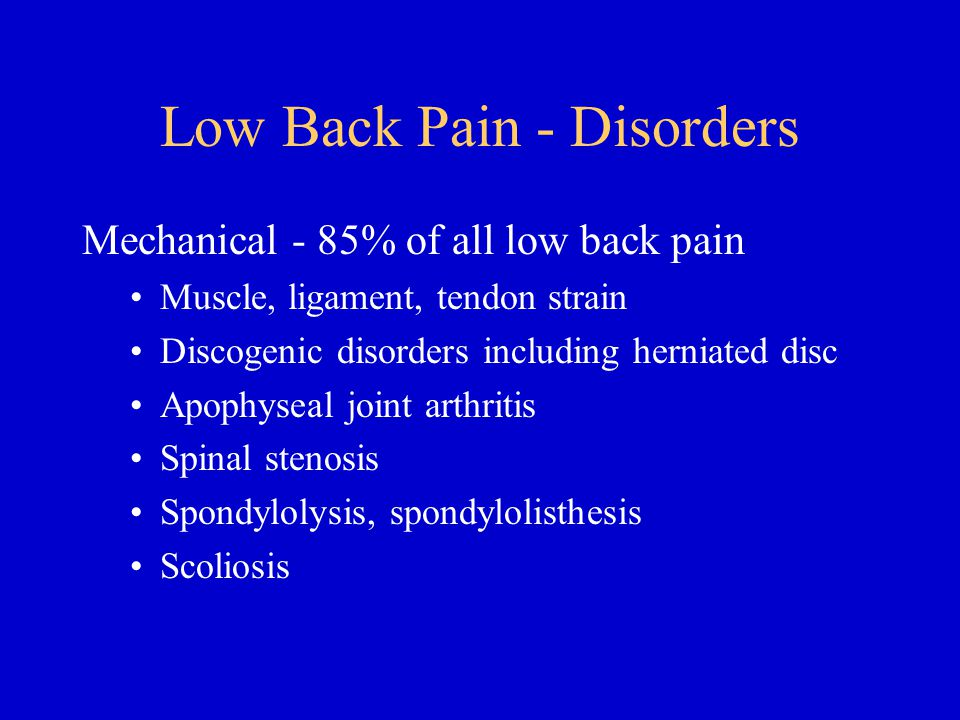 Low Back Pain - Disorders