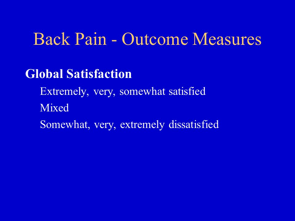 Back Pain - Outcome Measures