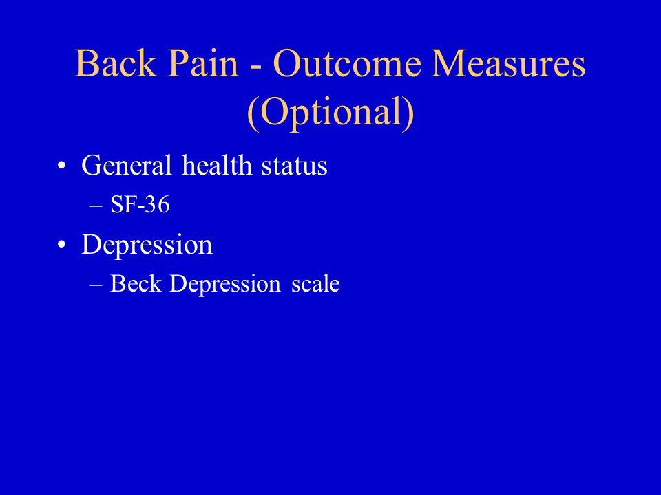Back Pain - Outcome Measures (Optional)