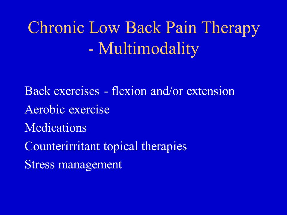 Chronic Low Back Pain Therapy - Multimodality