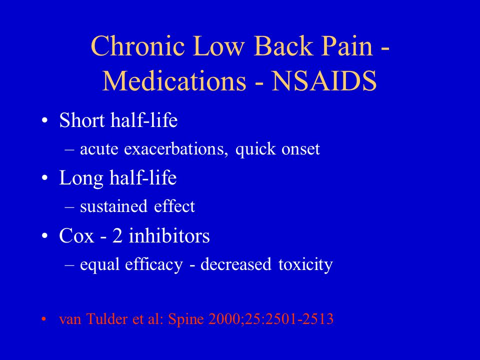 Chronic Low Back Pain - Medications - NSAIDS