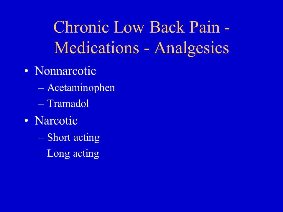 Chronic Low Back Pain - Medications - Analgesics