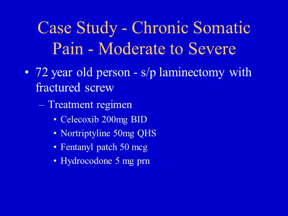 Case Study - Chronic Somatic Pain - Moderate to Severe