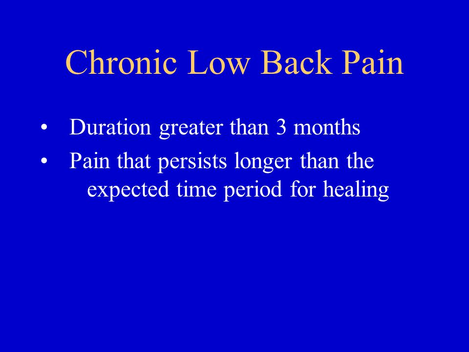 Chronic Low Back Pain Duration greater than 3 months