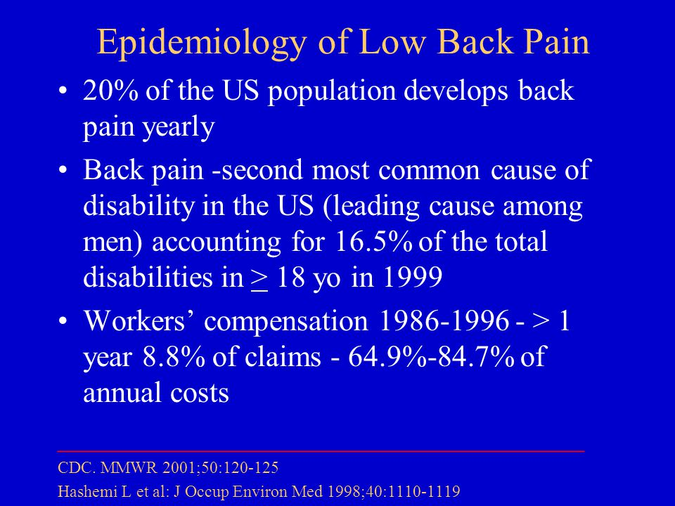 Epidemiology of Low Back Pain