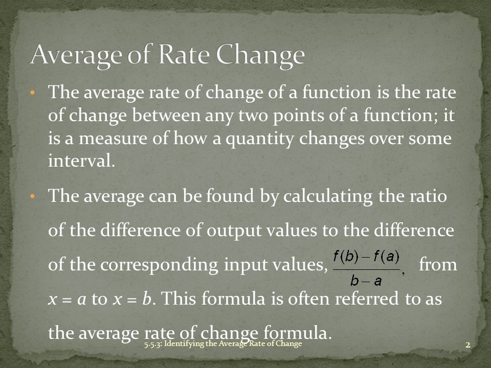 Average of Rate Change