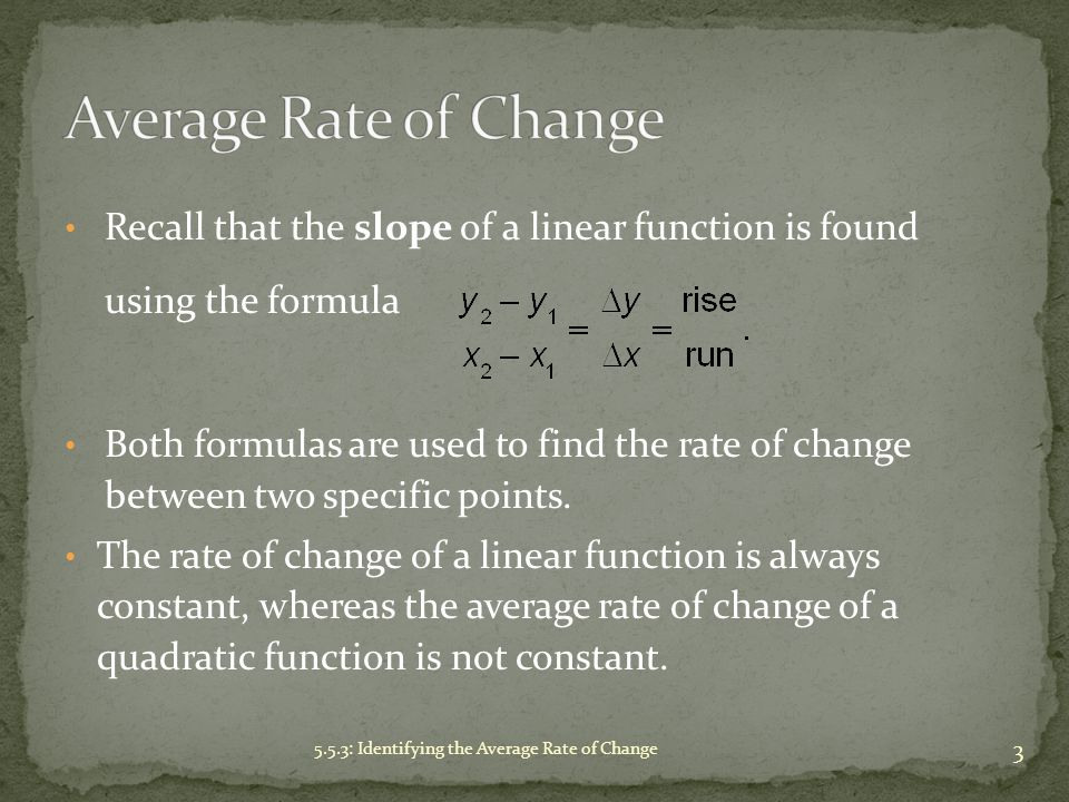 Average Rate of Change Recall that the slope of a linear function is found using the formula.