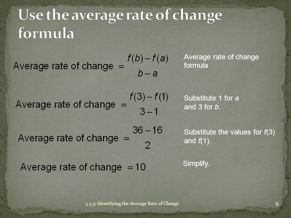 Use the average rate of change formula