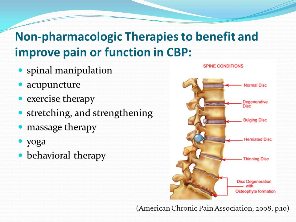 Non-pharmacologic Therapies to benefit and improve pain or function in CBP: