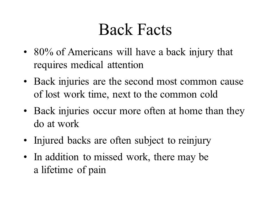 Back Facts 80% of Americans will have a back injury that requires medical attention.