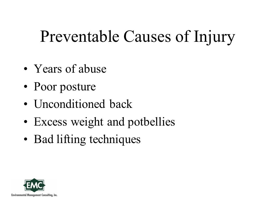Preventable Causes of Injury