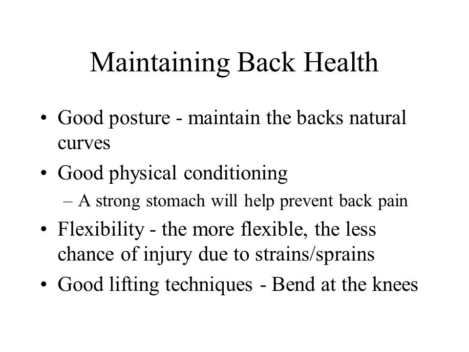 Maintaining Back Health