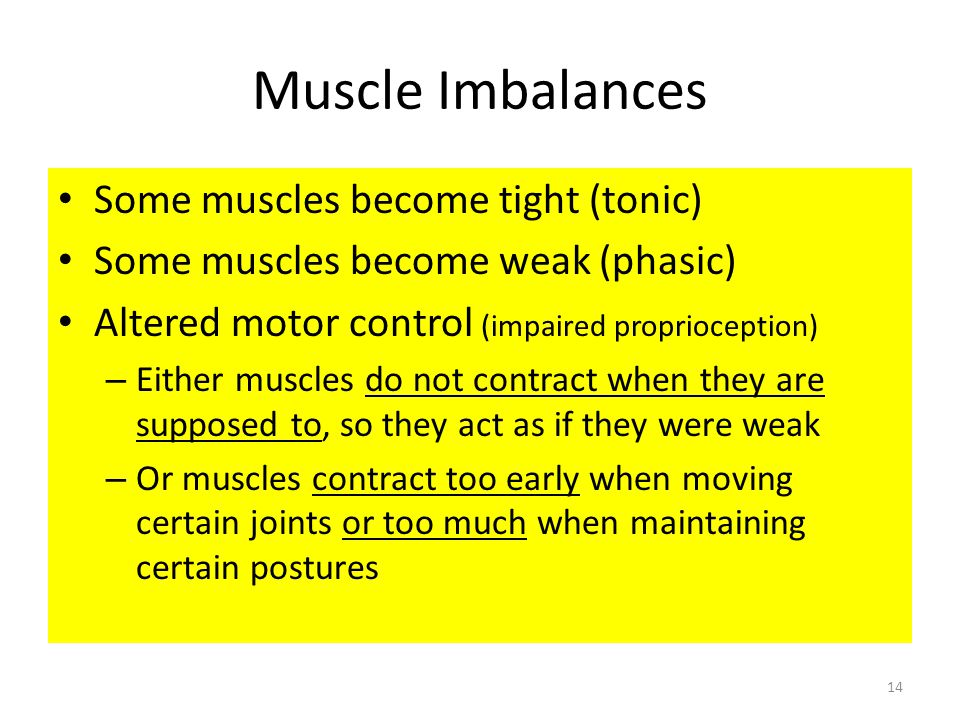 Muscle Imbalances Some muscles become tight (tonic)