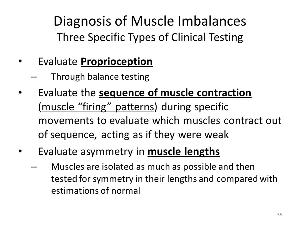 Diagnosis of Muscle Imbalances Three Specific Types of Clinical Testing